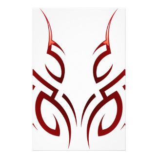 red  tribal tattoo motive stationery