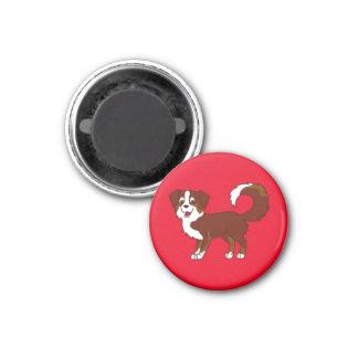 Red Tricolor Australian Shepherd Dog 1 Inch Round Magnet