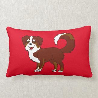 Red Tricolor Australian Shepherd Dog Lumbar Pillow