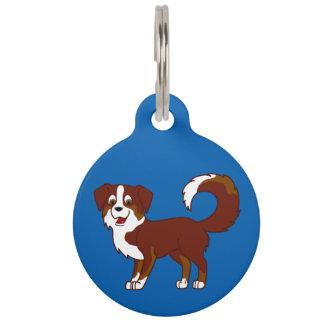 Red Tricolor Australian Shepherd Dog Pet Name Tag