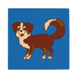Red Tricolor Australian Shepherd Dog Wooden Coaster