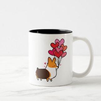 Red Tricolor Love & Hearts Corgi Mug | CorgiThings