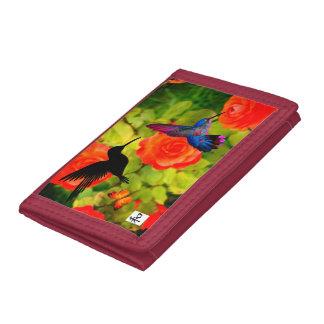 Red TriFold Nylon Wallet HUMMINGBIRD KANJI SYMBOL
