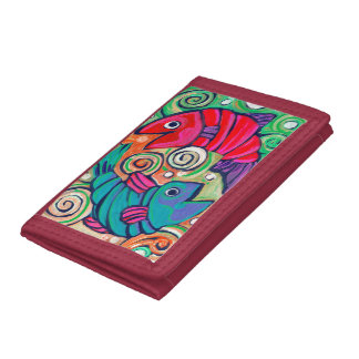 red trifold two fish wallet