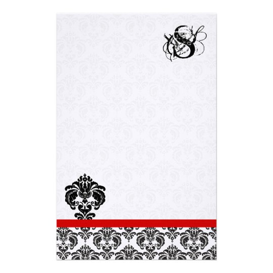 Red Trim Black Damask Monogram Stationery
