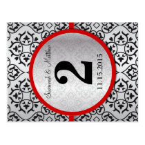 Red Trim Black Silver Gray Table Number Postcard