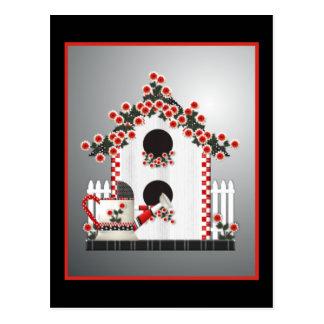Red Trimmed Birdhouse Postcard