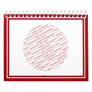 Red Trimmed Template - Add Photo(s) & Reminders Calendar