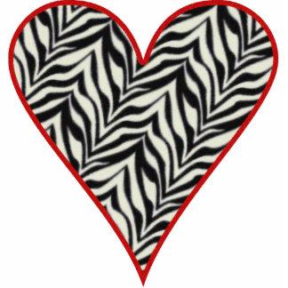 Red Trimmed Zebra Heart Cutout