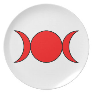 Red Triple Moon Plate by the Cheeky Witch
