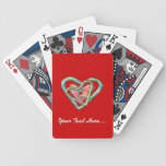 Red Triple Personalized Heart Bicycle Card Decks