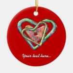 Red Triple Personalized Heart Double-Sided Ceramic Round Christmas Ornament