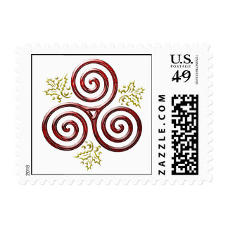 Red Triple Spiral with Holly Leaves Postage Stamp