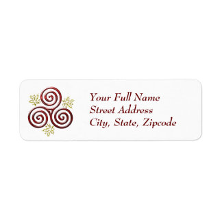 Red Triple Spiral with Holly Leaves - Return Label