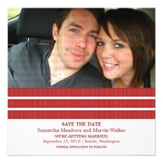 Red Triple Stripe Photo Save the Date Invite