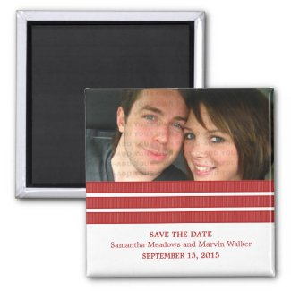 Red Triple Stripe Photo Save the Date Magnet