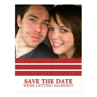 Red Triple Stripe Save the Date Postcard