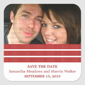 Red Triple Stripe Save the Date Stickers