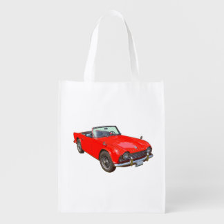 Red Triumph Tr4 Convertible Sports Car Grocery Bag
