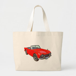 Red Triumph Tr4 Convertible Sports Car Large Tote Bag