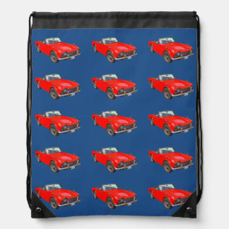 Red Triumph Tr4 Convertible SportsCar Drawstring Backpack