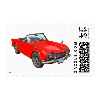 Red Triumph Tr4 Convertible Sportscar Postage
