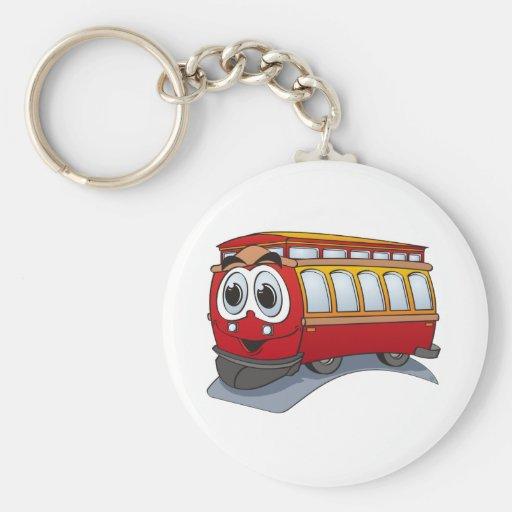 Red Trolley Cartoon Basic Round Button Keychain