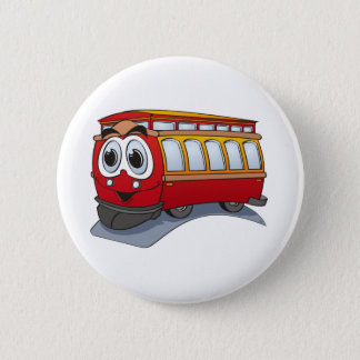 Red Trolley Cartoon Button