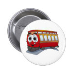 Red Trolley Cartoon Button