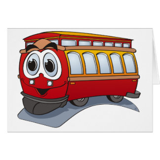 Red Trolley Cartoon Card
