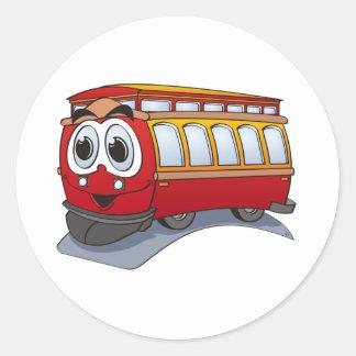 Red Trolley Cartoon Classic Round Sticker