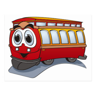 Red Trolley Cartoon Postcard