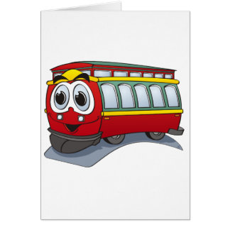 Red Trolley GT  Cartoon Card