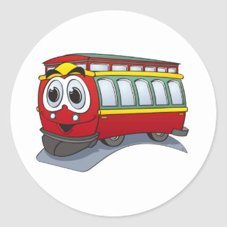 Red Trolley GT  Cartoon Classic Round Sticker