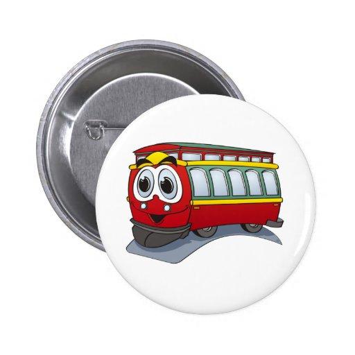Red Trolley GT  Cartoon Pinback Buttons