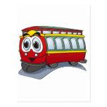 Red Trolley GT  Cartoon Post Card