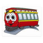 Red Trolley GT  Cartoon Postcard
