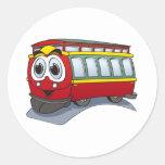 Red Trolley GT  Cartoon Round Stickers