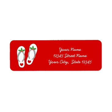 Beach Themed Red tropical Christmas holly leaf beach flip flops Label
