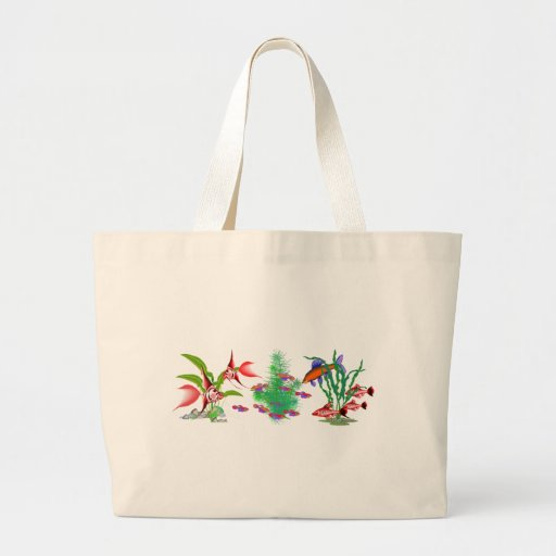Red Tropical Fish in Plants Canvas Bags