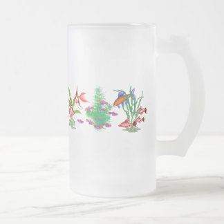 Red Tropical Fish in Plants Frosted Glass Beer Mug