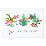 Red Tropical Fish in Plants 5x7 Paper Invitation Card