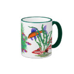 Red Tropical Fish in Plants Ringer Coffee Mug