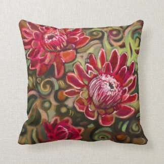 Red Tropical Floral Pattern Decorative Pillow