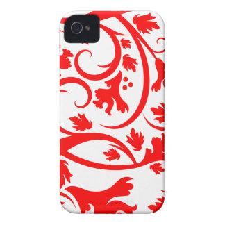 Red tropical flourish swirls cute blackberry bold Case-Mate iPhone 4 cases