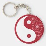 Red Tropical Flower Yin Yang Keychain