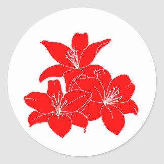 Red tropical flowers classic round sticker