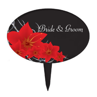 Red Tropical Flowers & Diamond Vines Cake Topper
