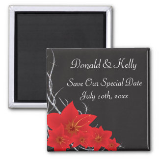Red Tropical Flowers & Diamond Vines Magnet