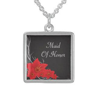 Red Tropical Flowers & Diamond Vines Square Pendant Necklace